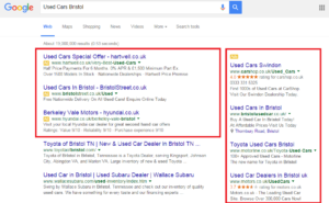 Ads on Google search results page