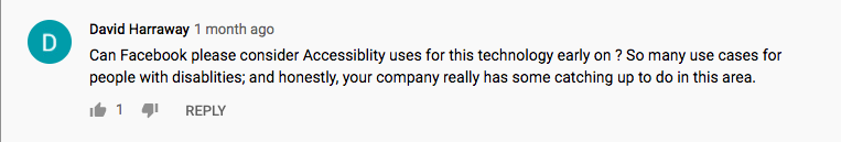 Image: Comment on Project Aria regarding inclusivity