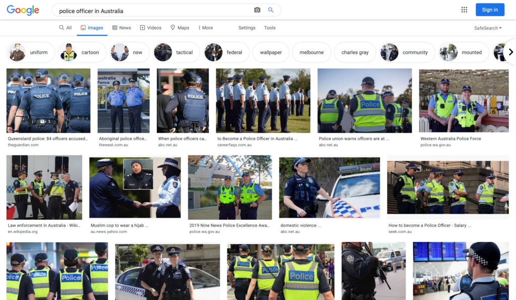 """Picture showing first page of image search results on Keywords """"Police officer in Australia,"""" Oct 30, 2020. Image: Google search engine, all rights reserved"""