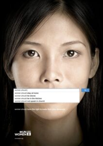 Advertisement for UN Women of bias on search engines