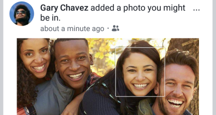 An example of Facebook's facial recognition software
