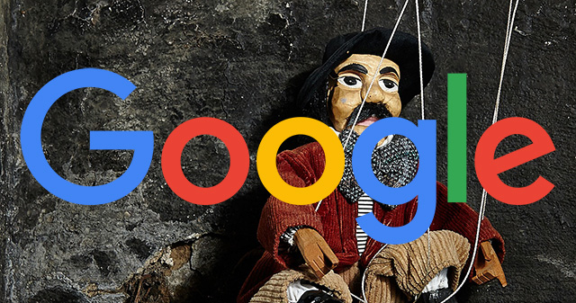 Google logo with a manipulated doll background