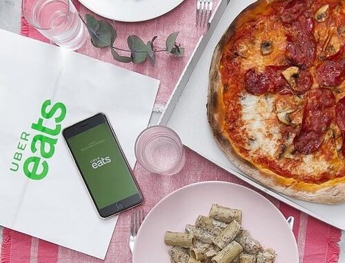 Image showing Uber Eats app and food