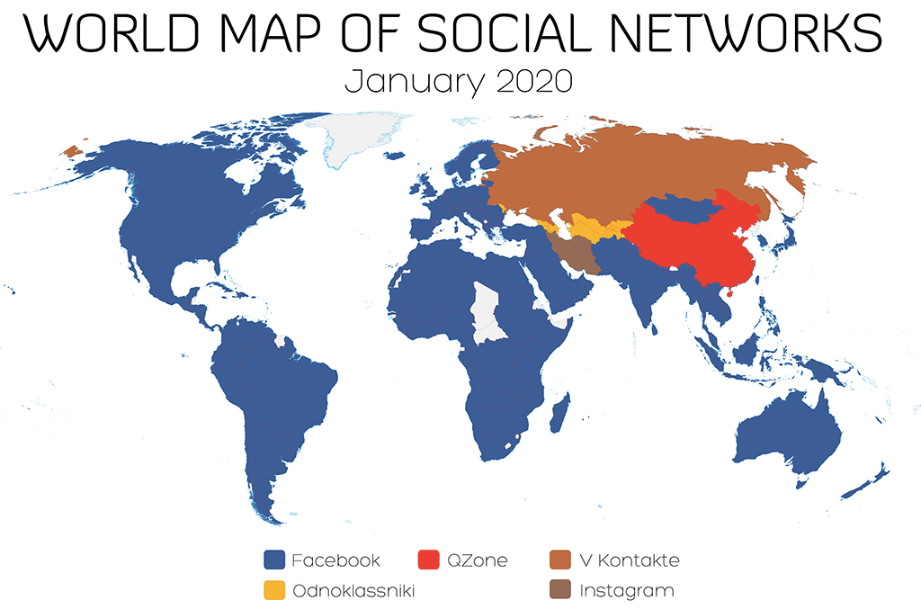 World Map of Social Networks, January 2020. Image: Vincenzo Cosenza, vincos.it, Attribution by CC-BY-NC 2.0.