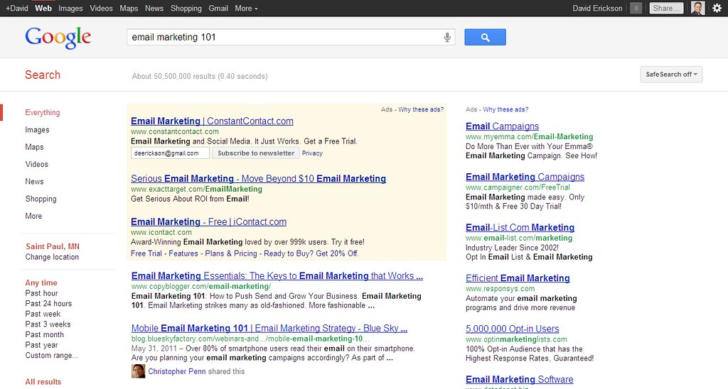 Email Marketing 101 Google SERPs with Constant Contact Email Subscribe Form Google Ad